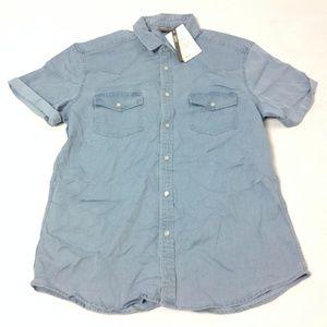 New Asos Men's Jeans Shirt Blue Size L Light Wash
